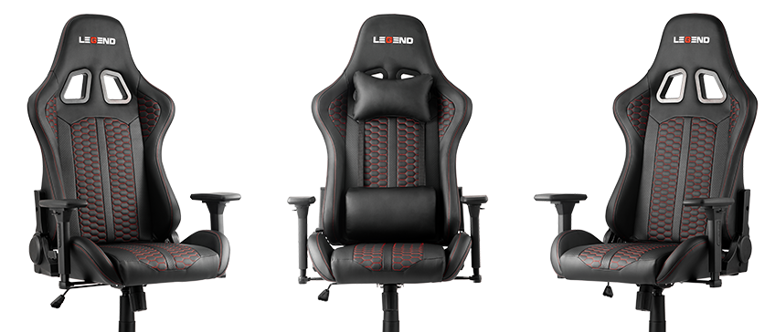 A black gaming chair with lumbar support and neck pillow