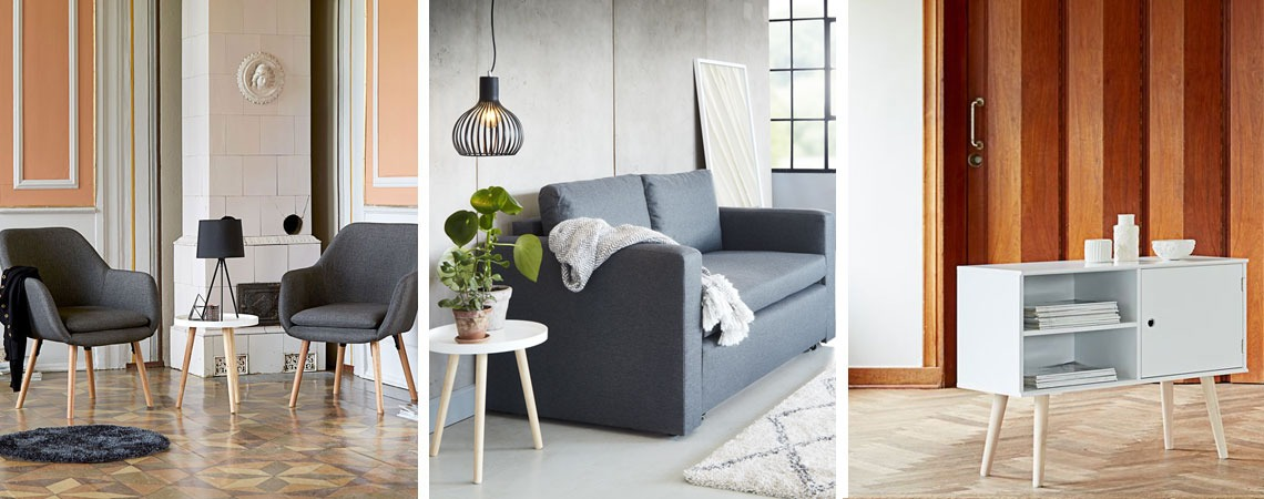 BAKKEBJERG Tray table, UDSBJERG Armchair, BRYRUP Sofa bed and OPLEV storage